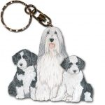 Bearded Collie Wooden Dog Breed Keychain Key Ring