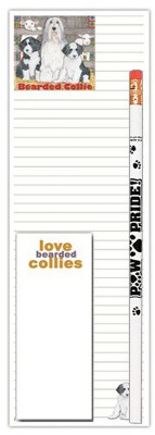 Bearded Collie Dog Notepads To Do List Pad Pencil Gift Set
