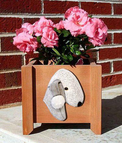Bedlington Terrier Planter Flower Pot White 1