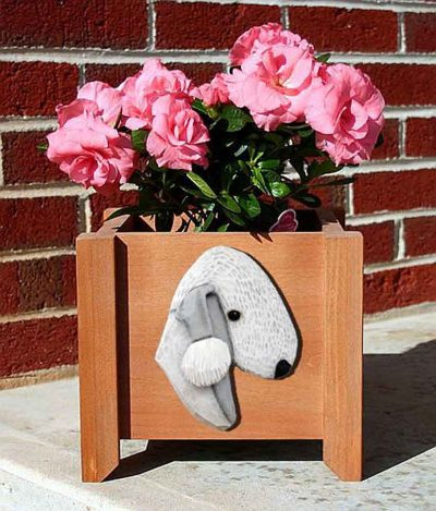 Bedlington Terrier Planter Flower Pot Blue 1
