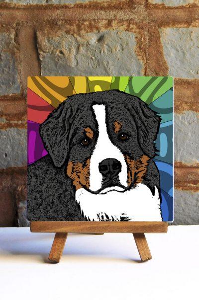 Bernese Mountain Dog Colorful Portrait Original Artwork on Ceramic Tile 4x4 Inches