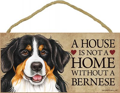 Bernese Mountain Wood Dog Sign Wall Plaque 5 x 10 - A House Is Not A Home + Bonus Coaster