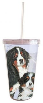 Bernese Mountain Dog Tumbler With Straw
