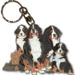 Bernese Mountain Dog Wooden Dog Breed Keychain Key Ring