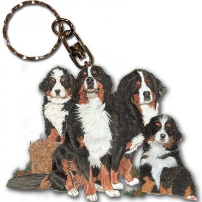 Bernese Mountain Dog Wooden Dog Breed Keychain