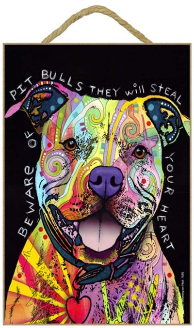 Pitbull Sign - Beware of Pitbulls They Will Steal Your Heart 7 x 10.5
