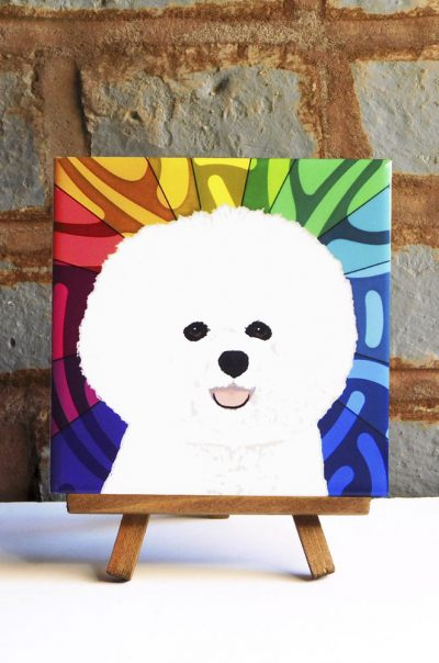 Bichon Frise Colorful Portrait Original Artwork on Ceramic Tile 4x4 Inches