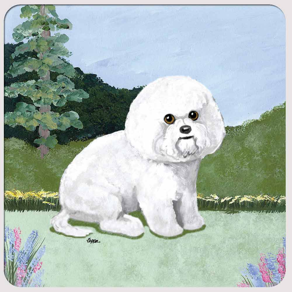 Bichon Frise Yard Scene Coasters Set of 4