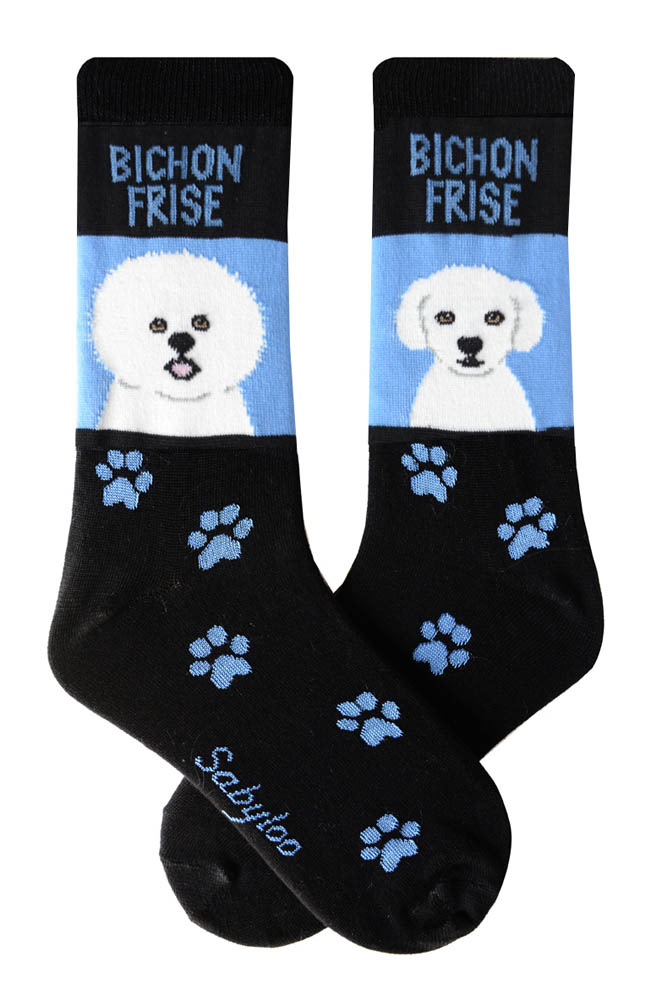 Bichon Standard and Bichon Puppy Cut Socks Blue and Black in Color