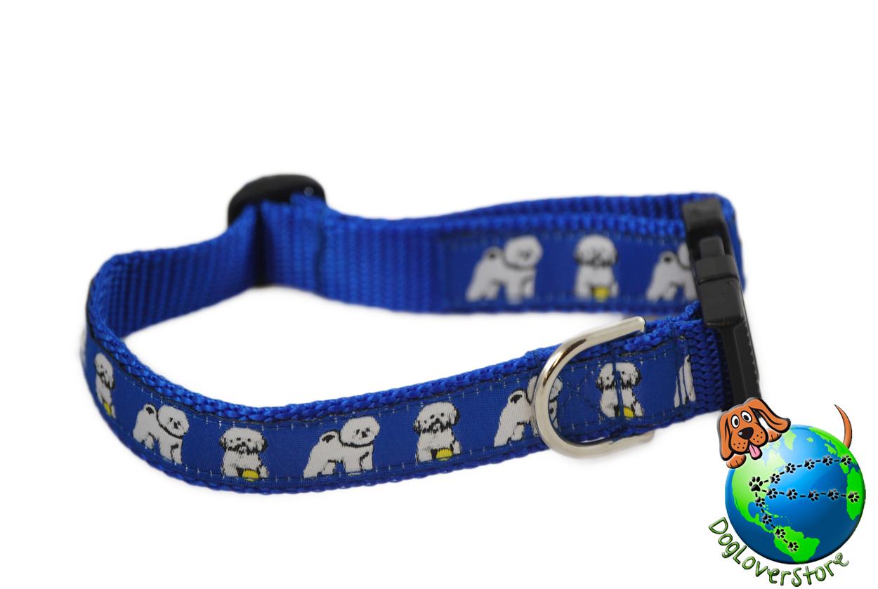 "Bichon Frise Dog Breed Adjustable Nylon Collar Medium 10-16"" Blue"
