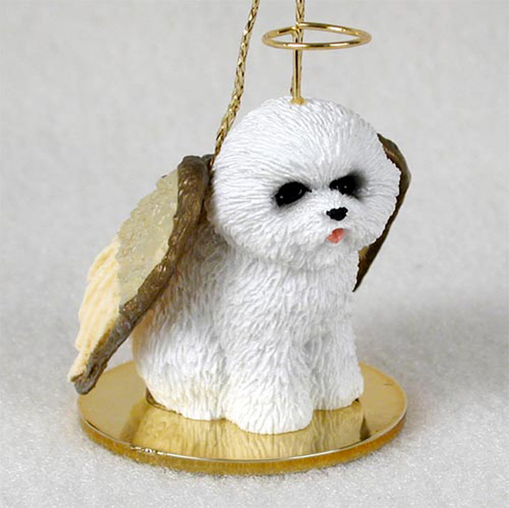 Bichon Frise Ornament Angel Figurine Hand Painted