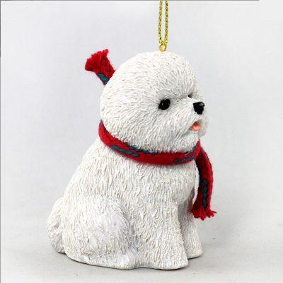 Bichon Frise Dog Christmas Ornament Scarf Figurine 1