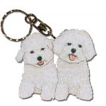 Bichon Frise Wooden Dog Breed Keychain Key Ring 1
