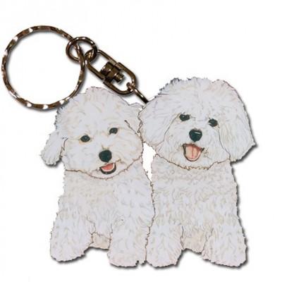 Bichon Frise Wooden Dog Breed Keychain Key Ring
