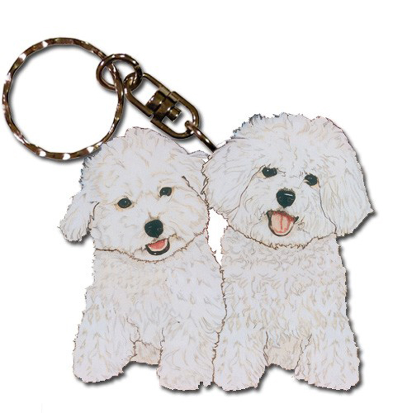 Bichon Frise Wooden Dog Breed Keychain Key Ring