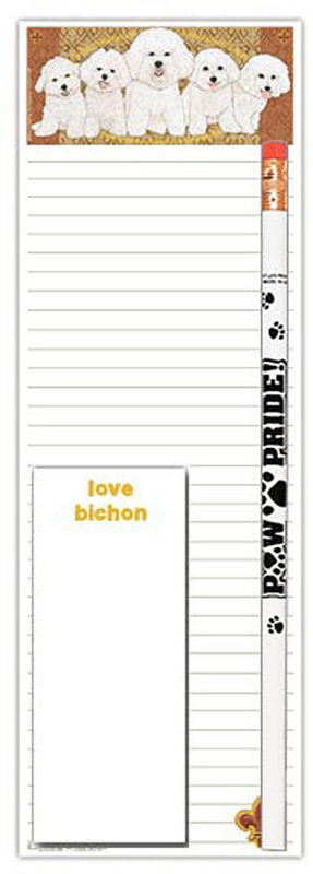 Bichon Frise Dog Notepads To Do List Pad Pencil Gift Set