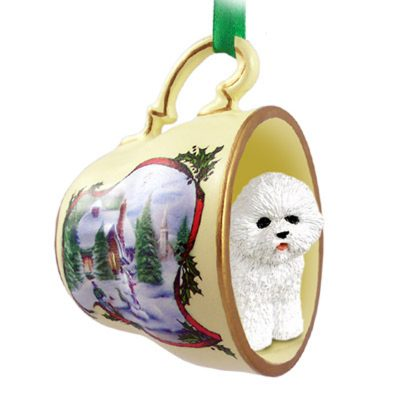 Bichon Frise Dog Christmas Holiday Teacup Ornament Figurine