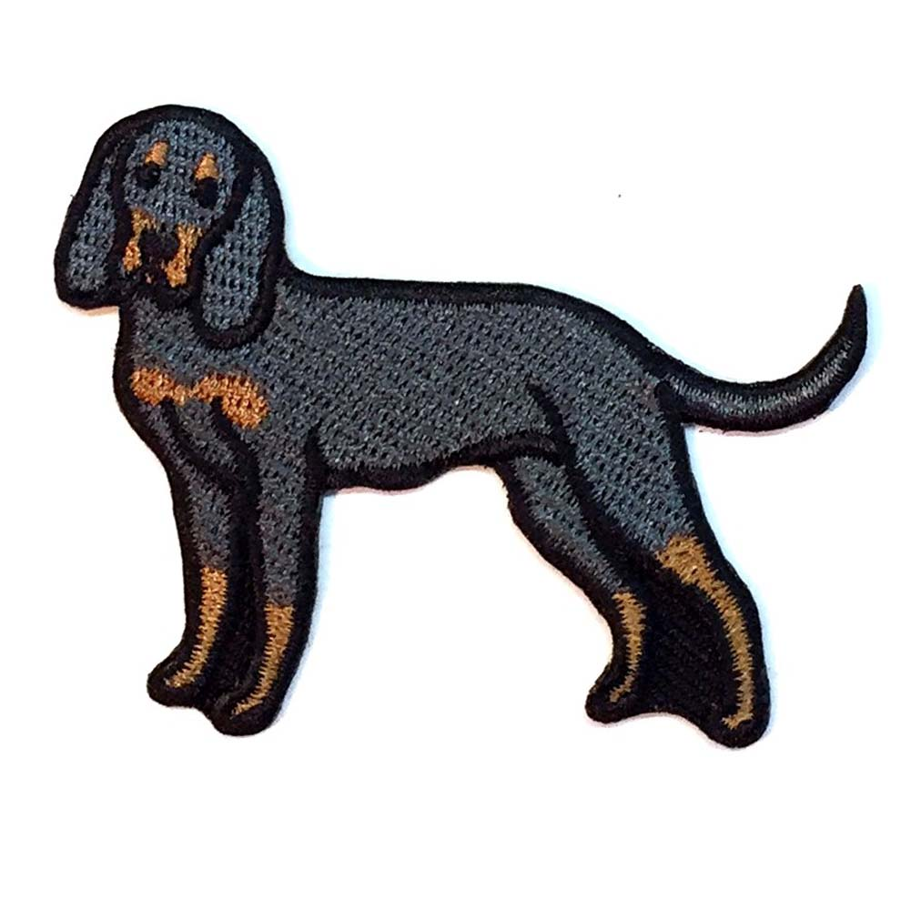 Black and Tan Coonhound Iron on Embroidered Patch