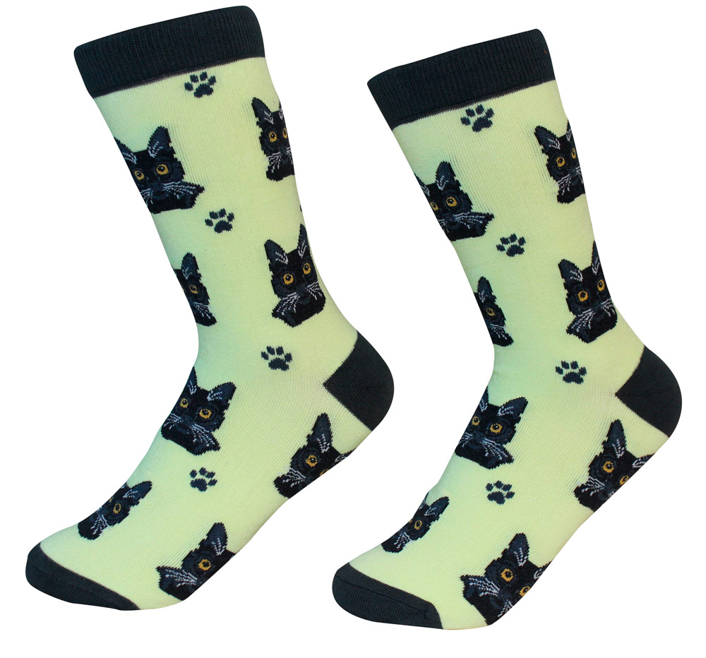 Black Cat Face Pattern Socks
