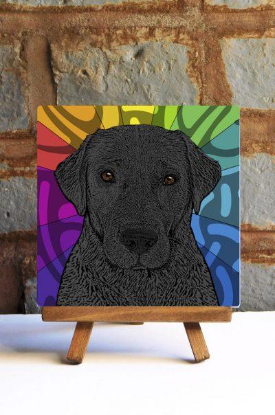 Black Lab Colorful Portrait Original Artwork on Ceramic Tile 4x4 Inches