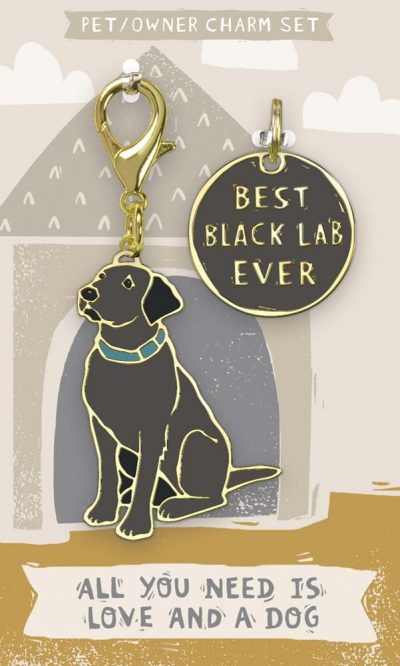 Black Lab Collar Charm and Keychain Set