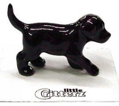 Black Lab Hand Painted Porcelain Miniature Figurine