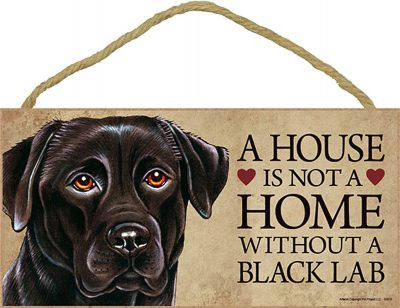 Black Lab Wood Dog Sign Wall Plaque Photo Display 5 x 10 - House Is Not A Home + Bonus Coaster