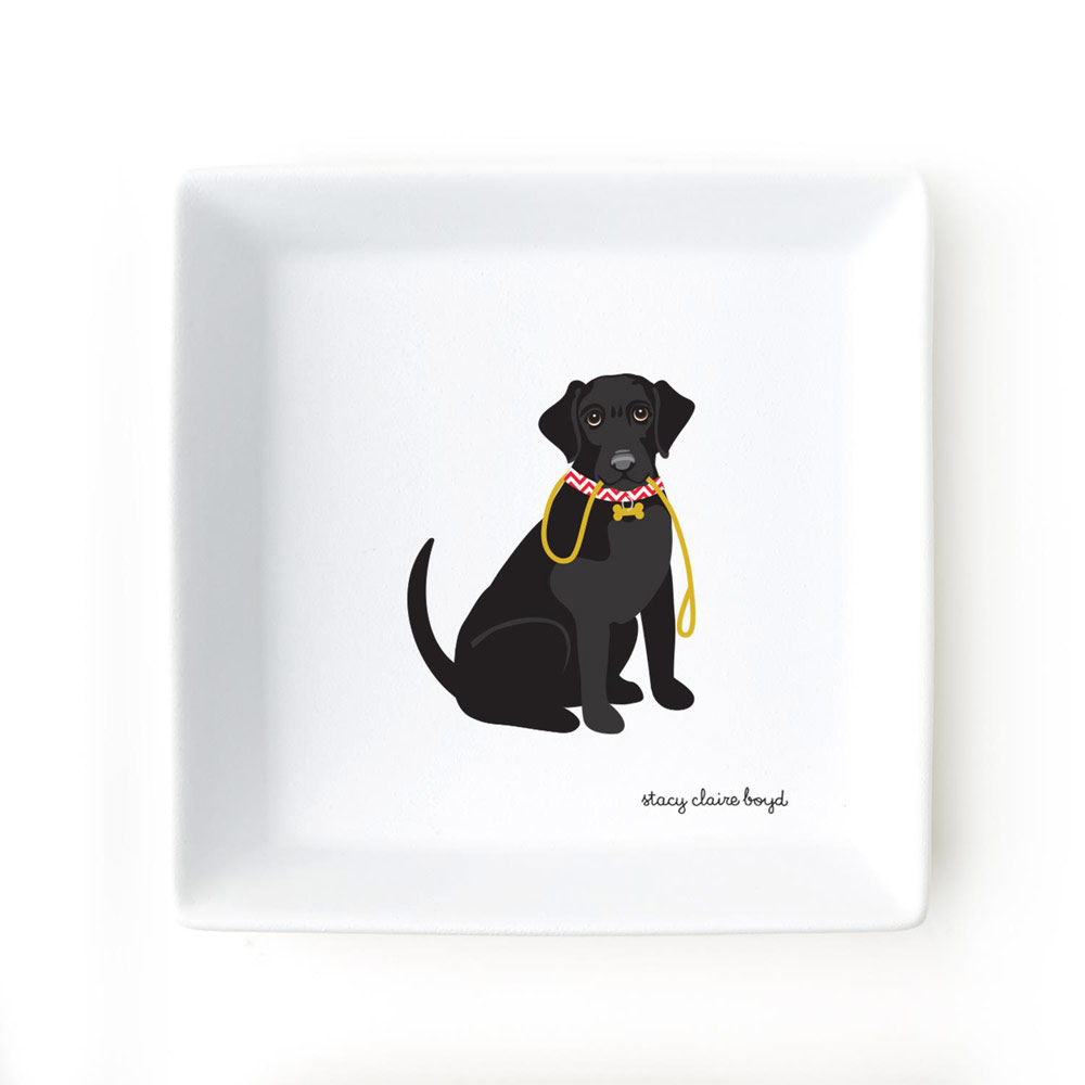 Black Lab Jewelry Trinket Dish