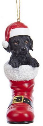 Black Lab Santa Boot Ornament