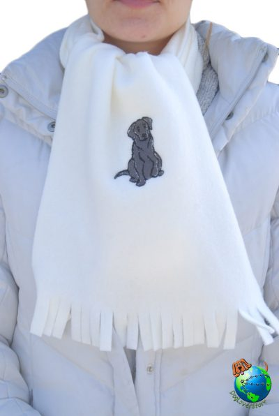 Black Lab Scarf Cream Fleece 1