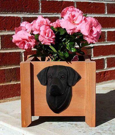 Black Labrador Planter Flower Pot 1