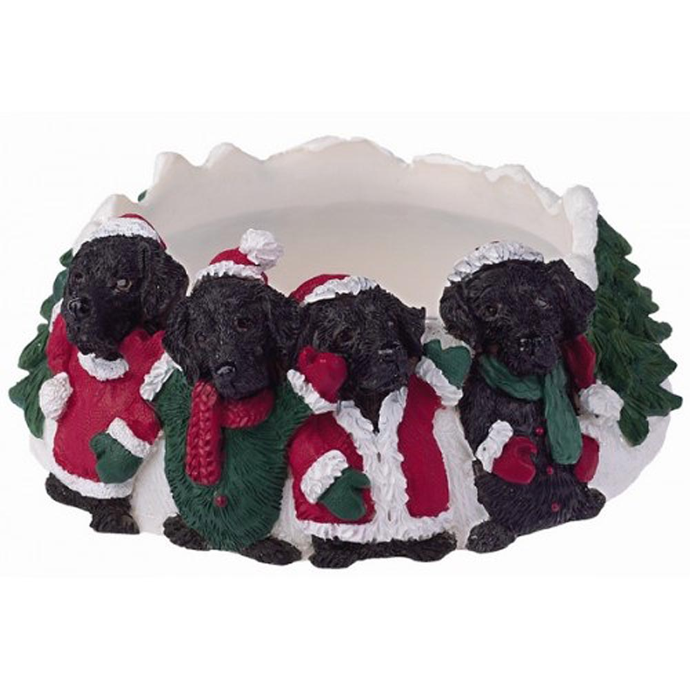 Black Labrador Holiday Candle Topper Ring