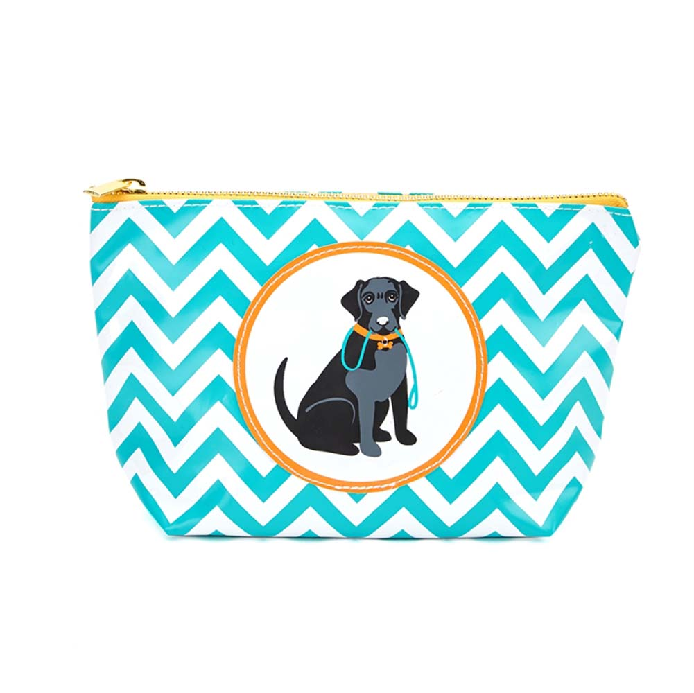 Black Labrador Zippered Makeup Travel Bag