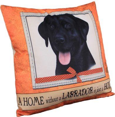 Black Labrador Pillow 16×16 Polyester 1