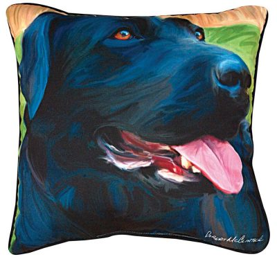 Black Labrador Artistic Throw Pillow 18X18""