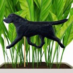 Black Lab Figure Attached to Stake to be Placed in Ground or Garden