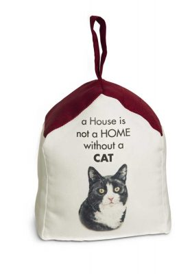 Black & White Cat Door Stopper 5 X 6 In. 2 lbs. - A House is Not a Home
