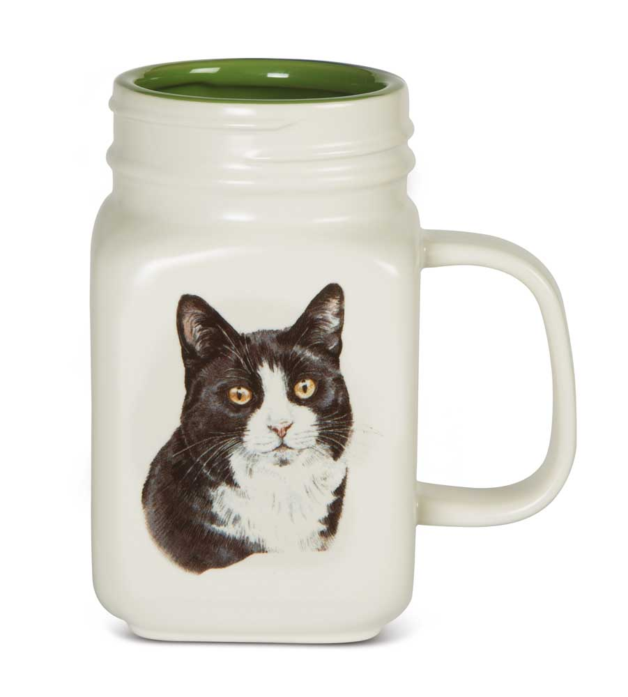 Black & White Cat 21 Oz. Ceramic Mug Mason Jar - All You Need Is Love