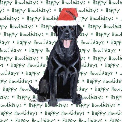 Black Labrador Dog Coasters Christmas Themed