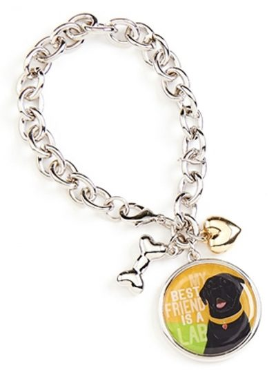 Black Lab Charm Bracelet w/ Heart & Bone Silver