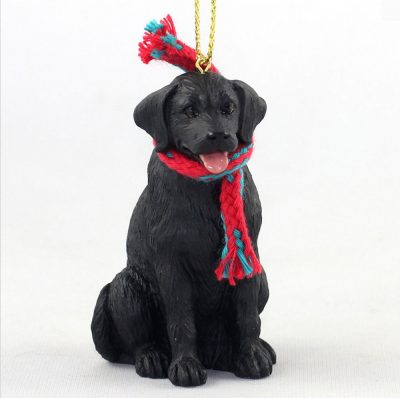Black Labrador Dog Christmas Ornament Scarf Figurine 1
