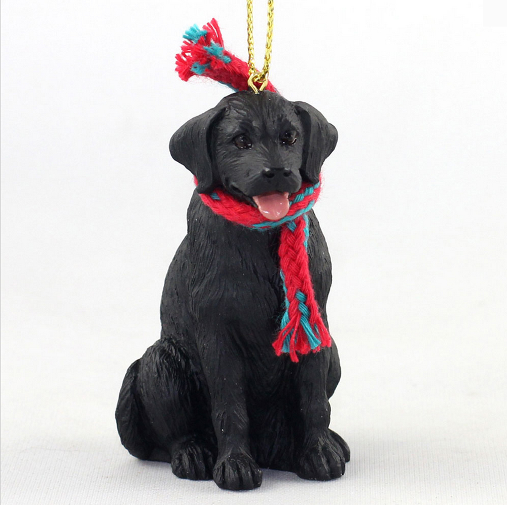 Black Labrador Dog Christmas Ornament Scarf Figurine