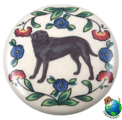 Black Labrador Dog Wine Bottle Stopper Hand Painted
