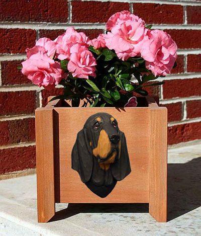 Bloodhound Planter Flower Pot Black Tan 1