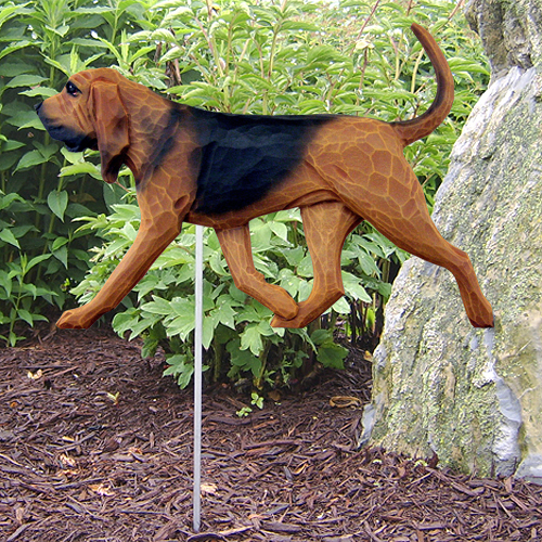 Bloodhound Red & Black Outdoor Resin Gaden Sign on Metal Stake to Insert in Ground
