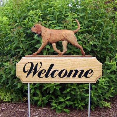 Bloodhound Outdoor Welcome Yard Sign Red/Brown in Color