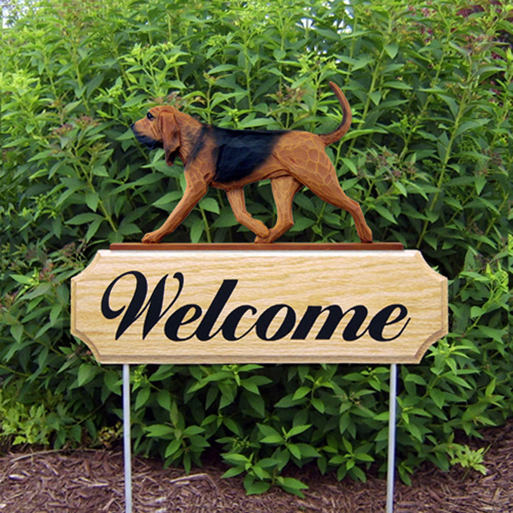 Bloodhound Outdoor Welcome Yard Sign Red Brown & Black in Color