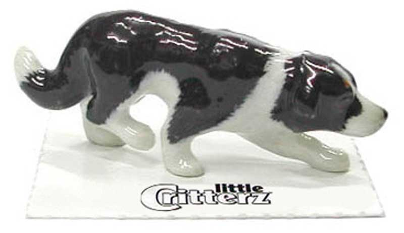 Border Collie Hand Painted Porcelain Miniature Figurine
