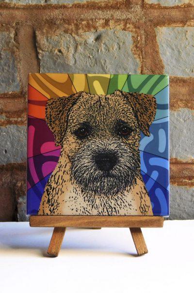 Border Terrier Colorful Portrait Original Artwork on Ceramic Tile 4x4 Inches