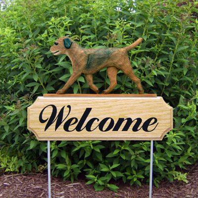 Border Terrier Outdoor Welcome Garden Sign Brown in Color